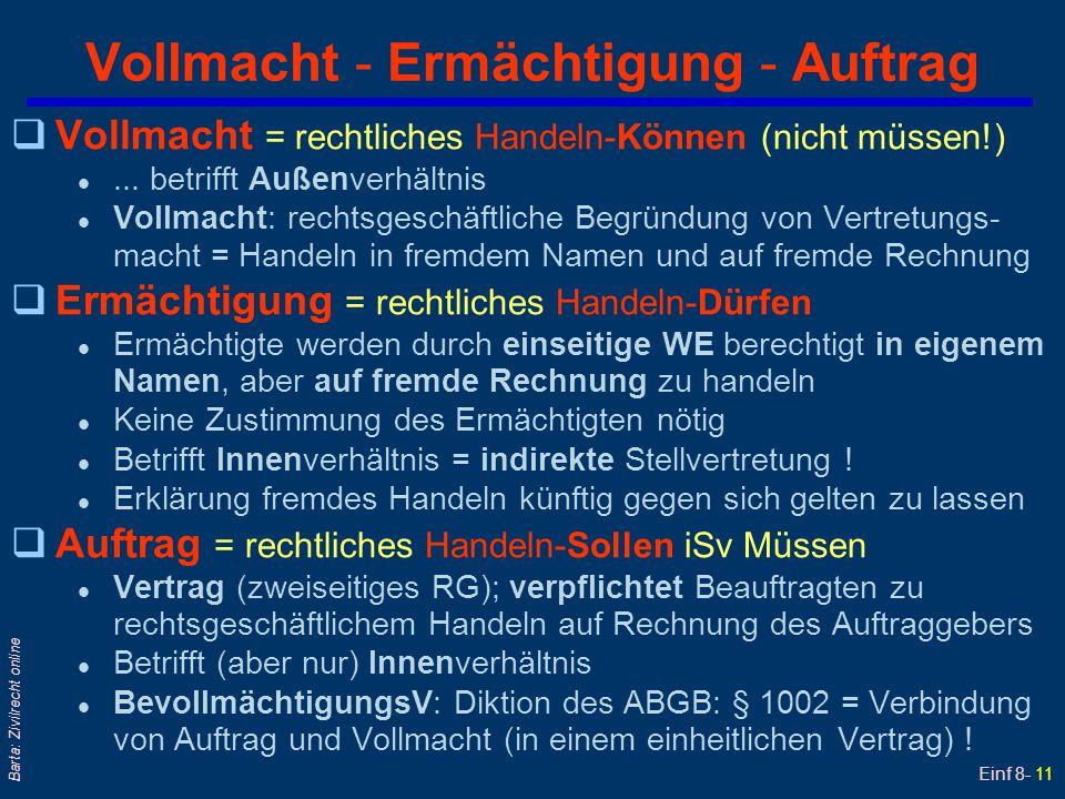 Einf 8- 11 Barta: Zivilrecht online Vollmacht - Ermächtigung - Auftrag qVollmacht = rechtliches Handeln-Können (nicht müssen!) l... betrifft Außenverh