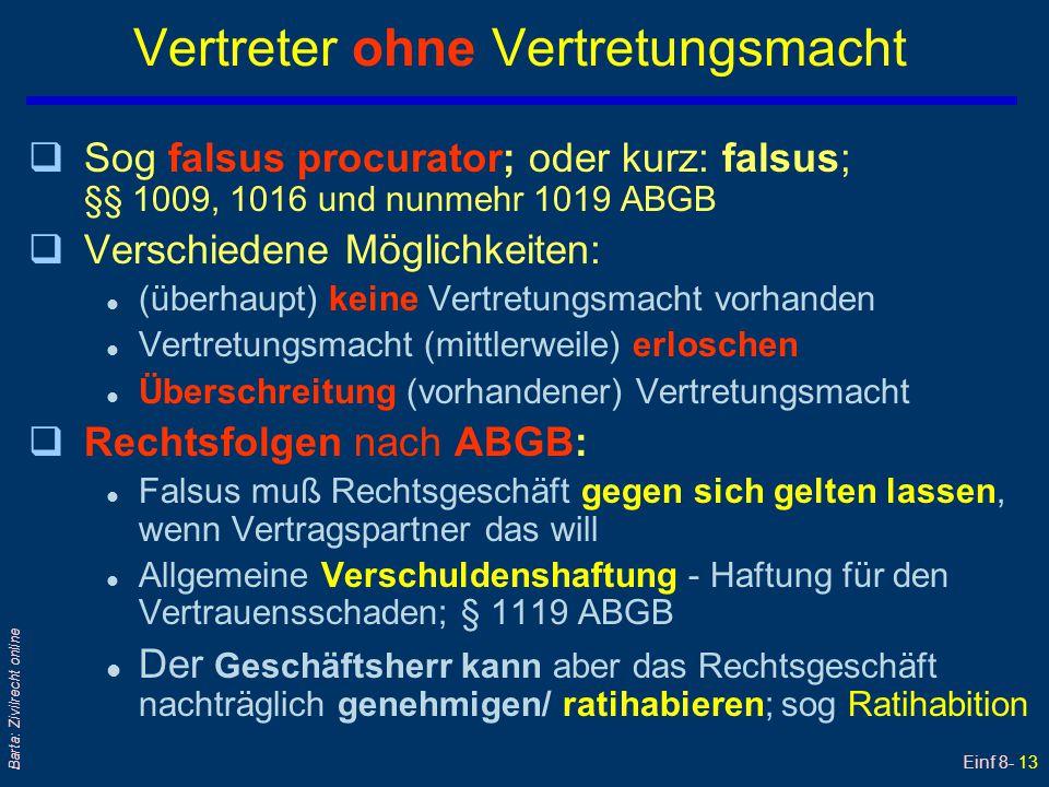 Einf 8- 13 Barta: Zivilrecht online Vertreter ohne Vertretungsmacht qSog falsus procurator; oder kurz: falsus; §§ 1009, 1016 und nunmehr 1019 ABGB qVe