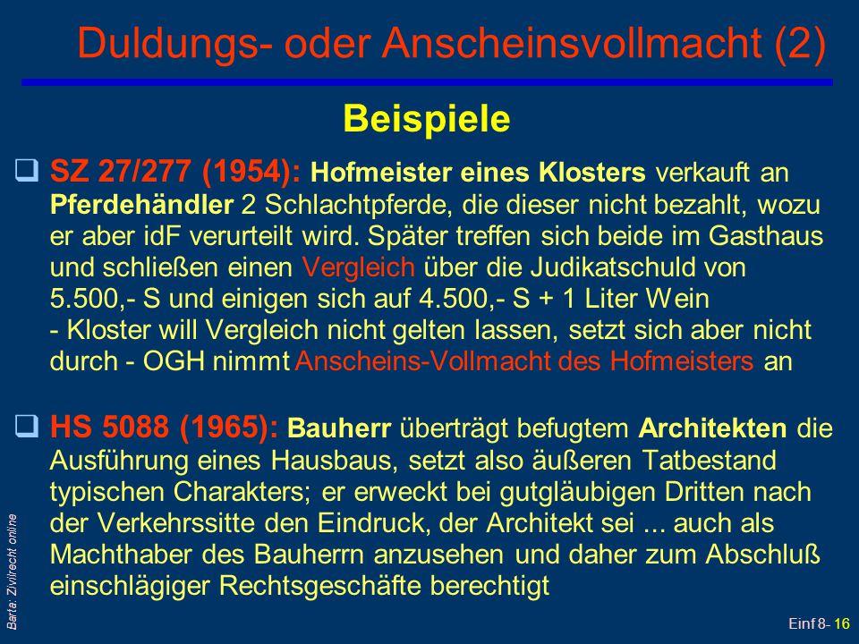 Einf 8- 16 Barta: Zivilrecht online Duldungs- oder Anscheinsvollmacht (2) Beispiele qSZ 27/277 (1954): Hofmeister eines Klosters verkauft an Pferdehän