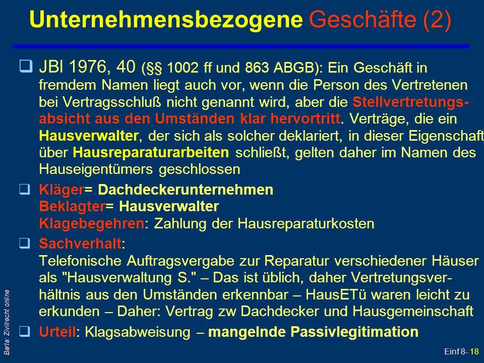 Einf 8- 18 Barta: Zivilrecht online Unternehmensbezogene Geschäfte (2) qJBl 1976, 40 (§§ 1002 ff und 863 ABGB): Ein Geschäft in fremdem Namen liegt au