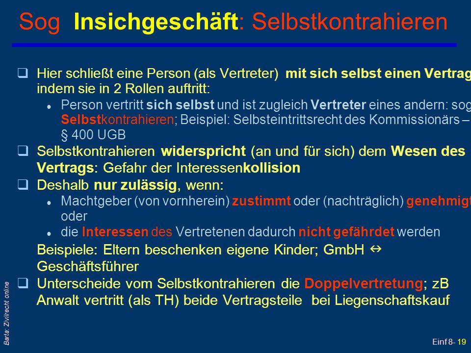 Einf 8- 19 Barta: Zivilrecht online Sog Insichgeschäft: Selbstkontrahieren qHier schließt eine Person (als Vertreter) mit sich selbst einen Vertrag, i