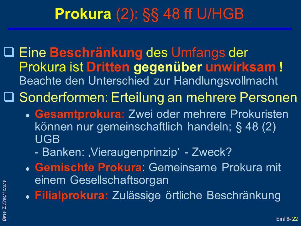 Einf 8- 22 Barta: Zivilrecht online Prokura (2): §§ 48 ff U/HGB qEine Beschränkung des Umfangs der Prokura ist Dritten gegenüber unwirksam ! Beachte d