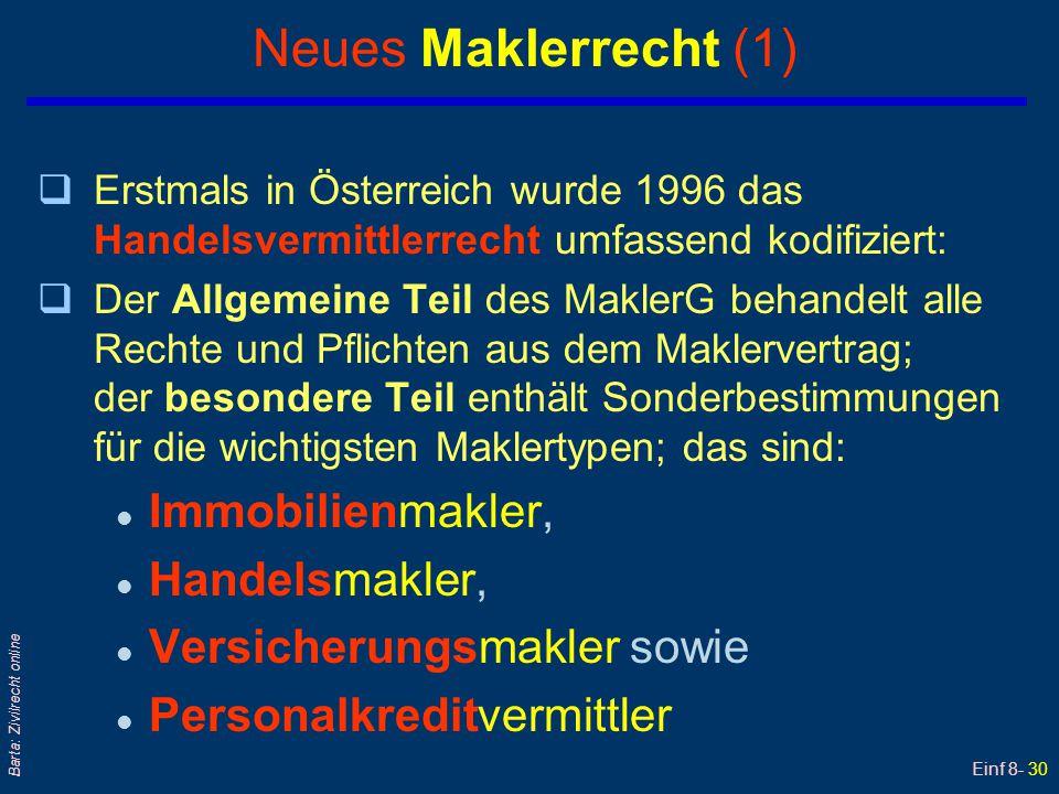 Einf 8- 30 Barta: Zivilrecht online Neues Maklerrecht (1) qErstmals in Österreich wurde 1996 das Handelsvermittlerrecht umfassend kodifiziert: qDer Al