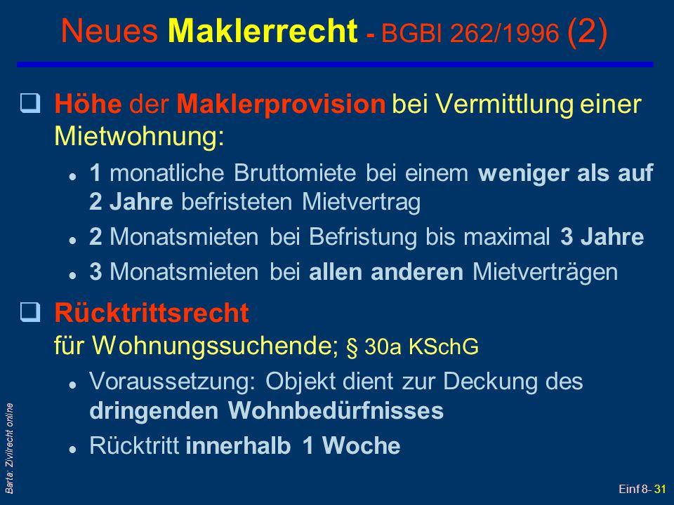 Einf 8- 31 Barta: Zivilrecht online Neues Maklerrecht - BGBl 262/1996 (2) qHöhe der Maklerprovision bei Vermittlung einer Mietwohnung: l 1 monatliche
