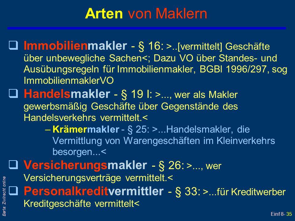 Einf 8- 35 Barta: Zivilrecht online Arten von Maklern qImmobilienmakler - § 16: >..[vermittelt] Geschäfte über unbewegliche Sachen<; Dazu VO über Stan