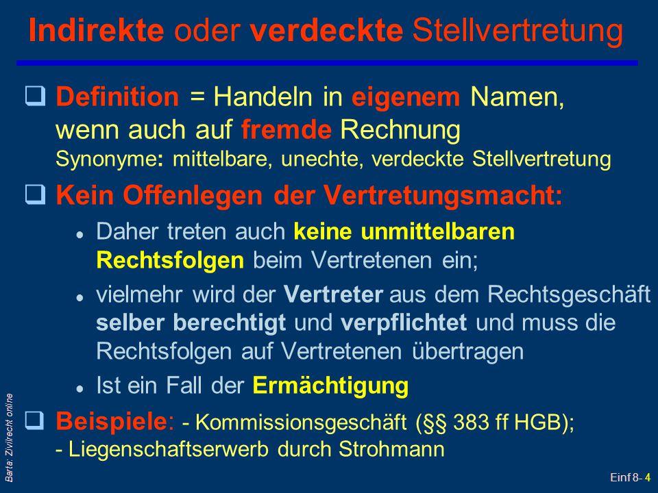 Einf 8- 5 Barta: Zivilrecht online Indirekte Stellvertretung Vertretener VN Dritter D Vertreter VT...aber auf fremde (nämlich VN´s) Rechnung Rechtsgeschäft handelt im eigenen Namen 2a 1 Erteilen einer Ermächtigung 2b VT