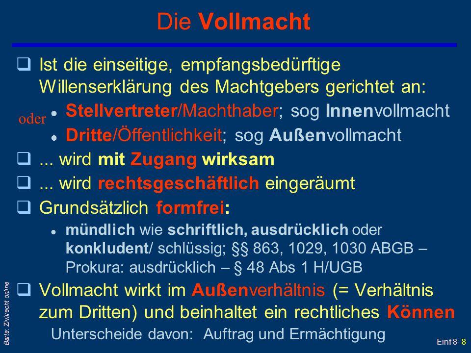 Einf 8- 9 Barta: Zivilrecht online Vollmachtserteilung - erfolgt entweder...
