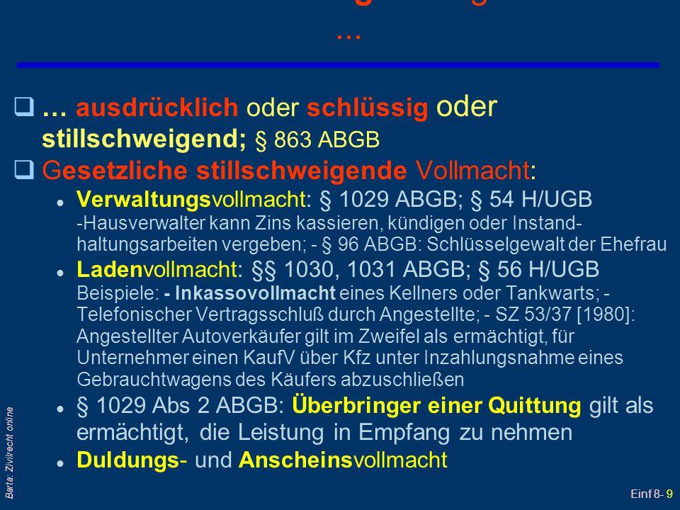 Einf 8- 9 Barta: Zivilrecht online Vollmachtserteilung - erfolgt entweder... q… ausdrücklich oder schlüssig oder stillschweigend; § 863 ABGB qGesetzli