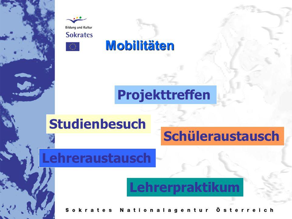 Mobilitäten Projekttreffen Studienbesuch Lehreraustausch Lehrerpraktikum Schüleraustausch