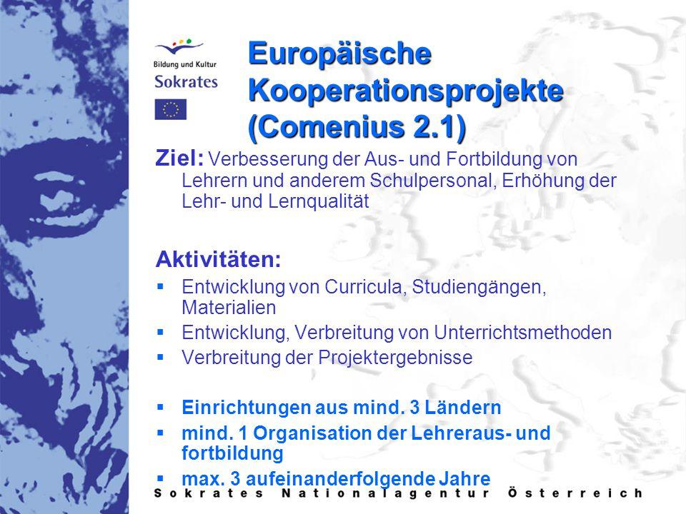 Europäische Kooperationsprojekte (Comenius 2.1) Ziel: Verbesserung der Aus- und Fortbildung von Lehrern und anderem Schulpersonal, Erhöhung der Lehr-