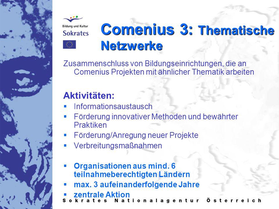 Comenius 3: Thematische Netzwerke Zusammenschluss von Bildungseinrichtungen, die an Comenius Projekten mit ähnlicher Thematik arbeiten Aktivitäten:   Informationsaustausch   Förderung innovativer Methoden und bewährter Praktiken   Förderung/Anregung neuer Projekte   Verbreitungsmaßnahmen   Organisationen aus mind.