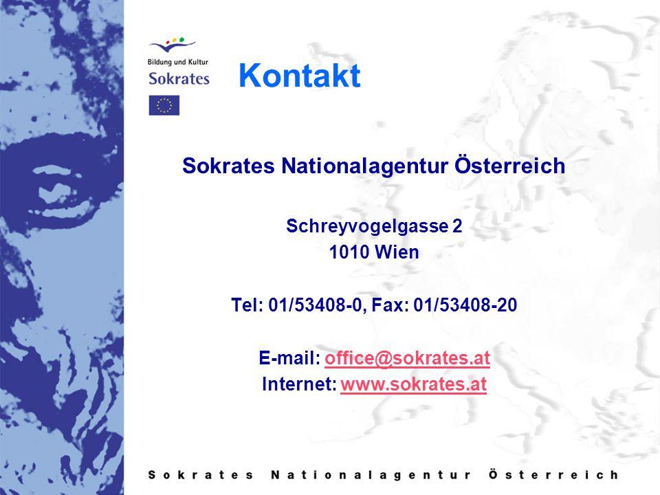 Kontakt Sokrates Nationalagentur Österreich Schreyvogelgasse 2 1010 Wien Tel: 01/53408-0, Fax: 01/53408-20 E-mail: office@sokrates.atoffice@sokrates.at Internet: www.sokrates.atwww.sokrates.at
