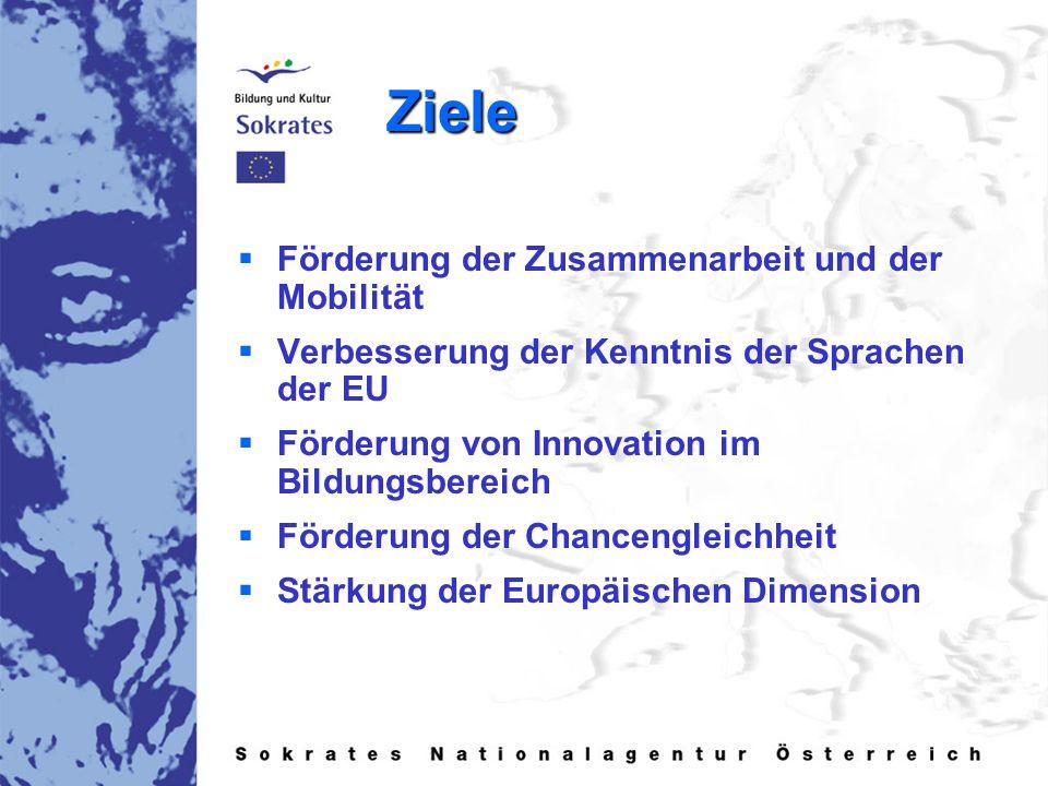 Ziele   Förderung der Zusammenarbeit und der Mobilität   Verbesserung der Kenntnis der Sprachen der EU   Förderung von Innovation im Bildungsbereich   Förderung der Chancengleichheit   Stärkung der Europäischen Dimension