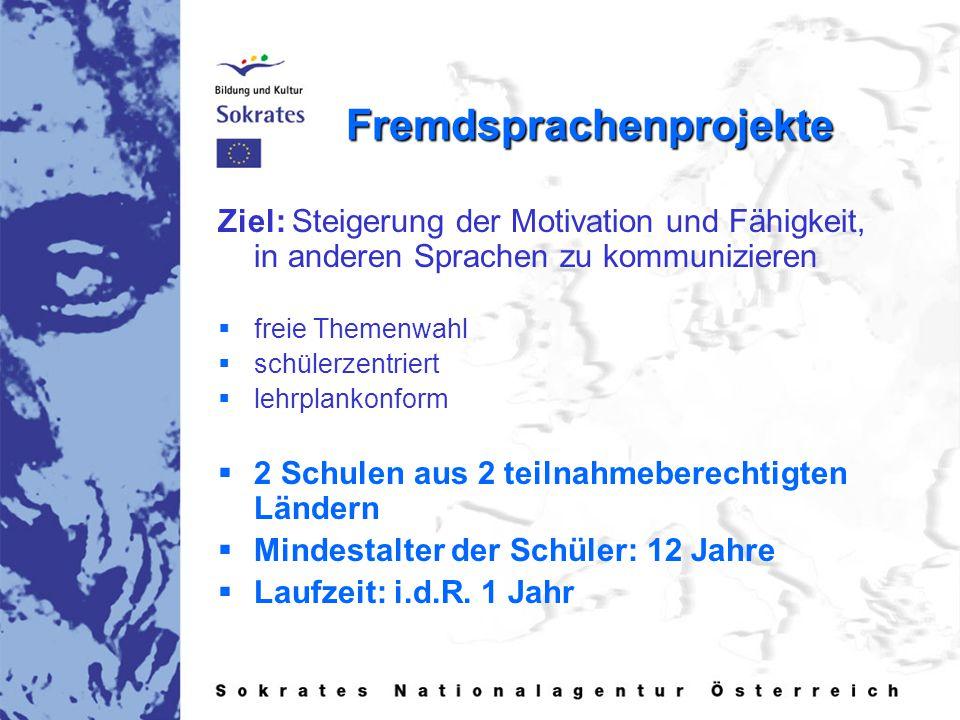 Fremdsprachenprojekte Ziel: Steigerung der Motivation und Fähigkeit, in anderen Sprachen zu kommunizieren   freie Themenwahl   schülerzentriert 