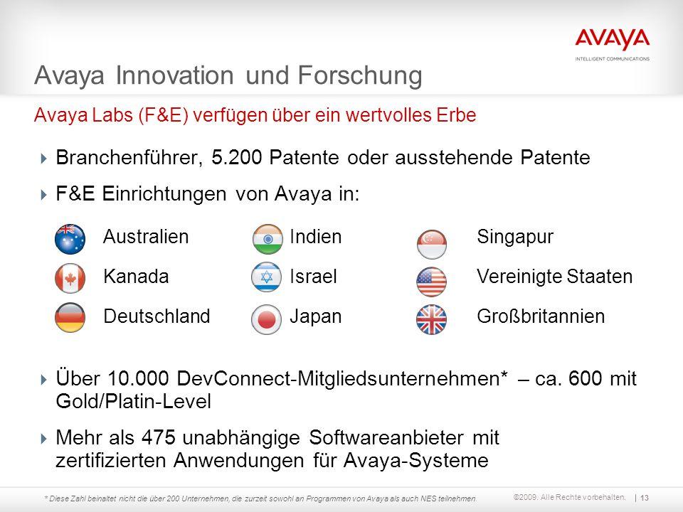 ©2009. Alle Rechte vorbehalten. Australien Kanada Deutschland Indien Israel Japan Singapur Vereinigte Staaten Großbritannien Avaya Labs (F&E) verfügen
