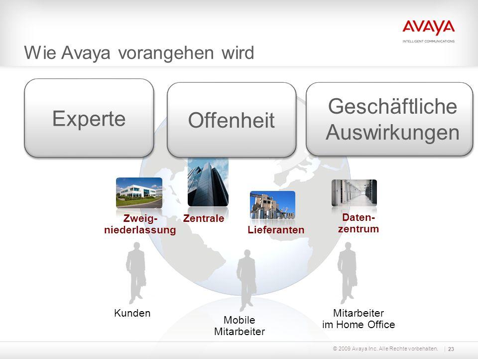 Wie Avaya vorangehen wird KundenMitarbeiter im Home Office Mobile Mitarbeiter Zweig- niederlassung Zentrale Daten- zentrum Lieferanten Offenheit Exper