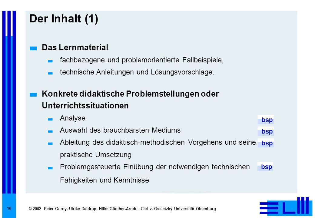 © 2002 Peter Gorny, Ulrike Daldrup, Hilke Günther-Arndt– Carl v. Ossietzky Universität Oldenburg 10 Der Inhalt (1) Das Lernmaterial fachbezogene und p