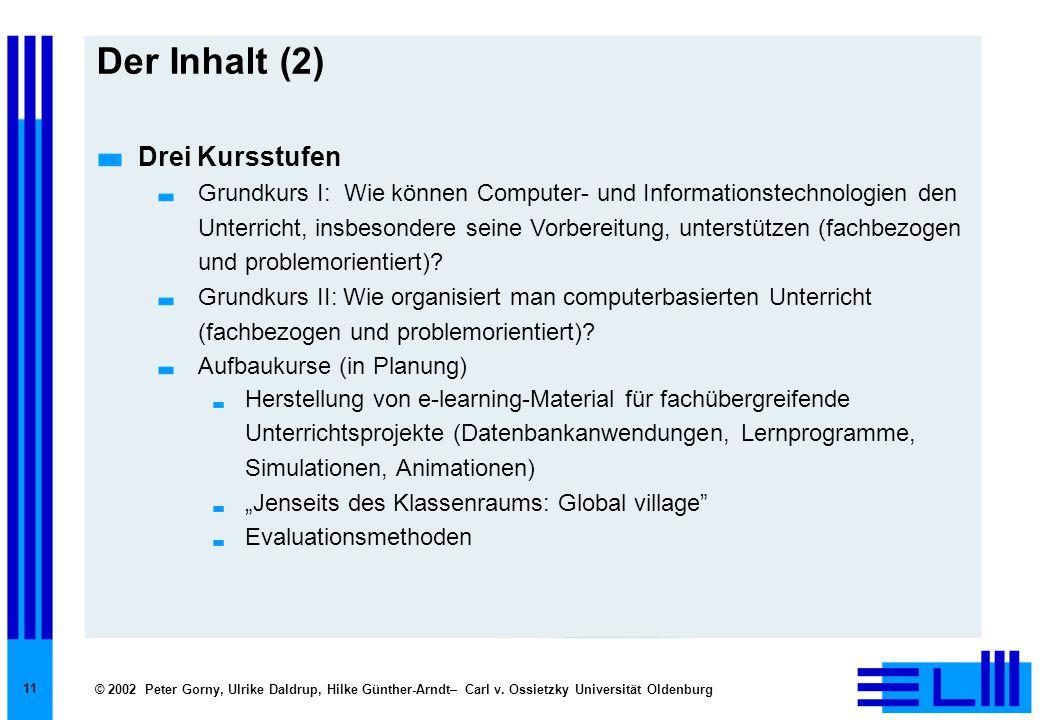 © 2002 Peter Gorny, Ulrike Daldrup, Hilke Günther-Arndt– Carl v. Ossietzky Universität Oldenburg 11 Der Inhalt (2) Drei Kursstufen Grundkurs I: Wie kö
