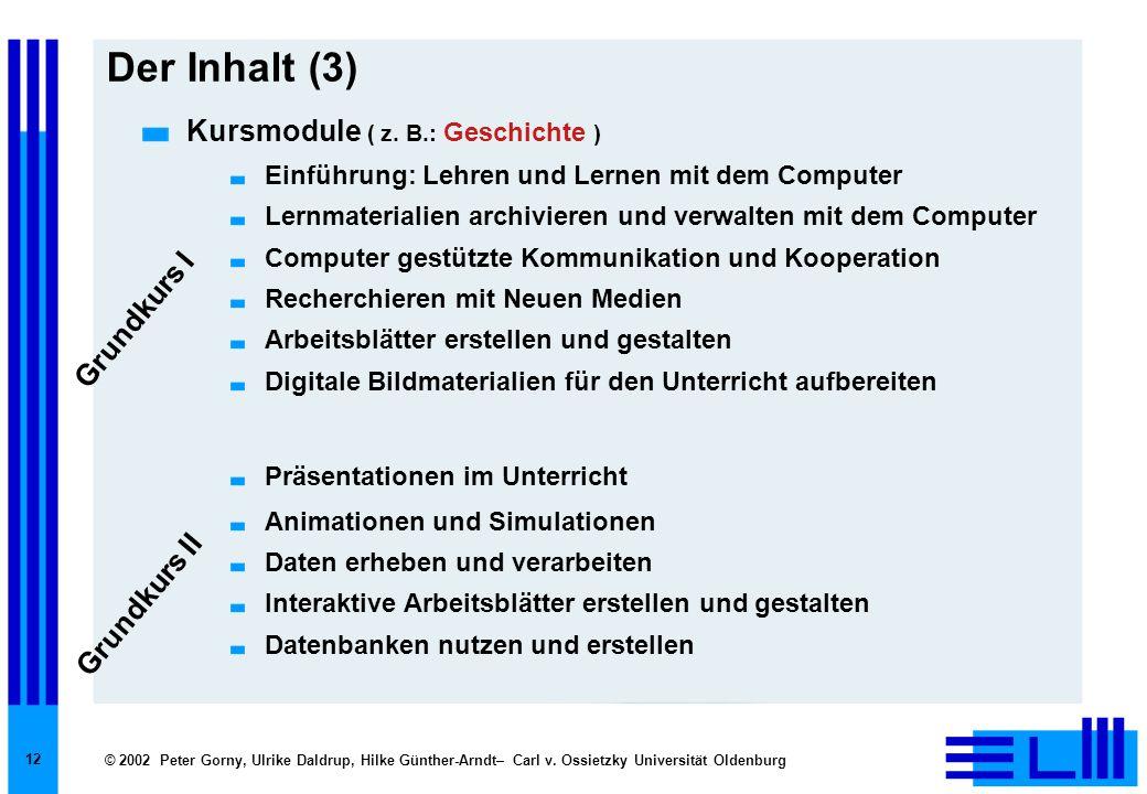 © 2002 Peter Gorny, Ulrike Daldrup, Hilke Günther-Arndt– Carl v. Ossietzky Universität Oldenburg 12 Der Inhalt (3) Kursmodule ( z. B.: Geschichte ) Ei