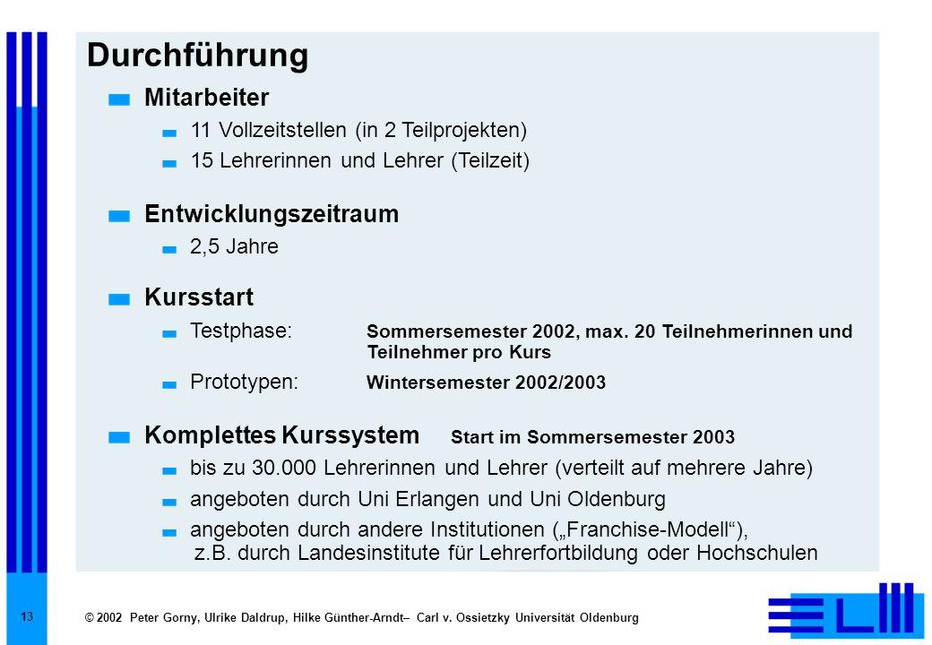 © 2002 Peter Gorny, Ulrike Daldrup, Hilke Günther-Arndt– Carl v. Ossietzky Universität Oldenburg 13 Durchführung Mitarbeiter 11 Vollzeitstellen (in 2