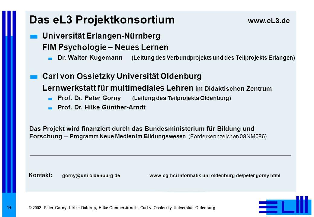 © 2002 Peter Gorny, Ulrike Daldrup, Hilke Günther-Arndt– Carl v. Ossietzky Universität Oldenburg 14 Das eL3 Projektkonsortium Universität Erlangen-Nür