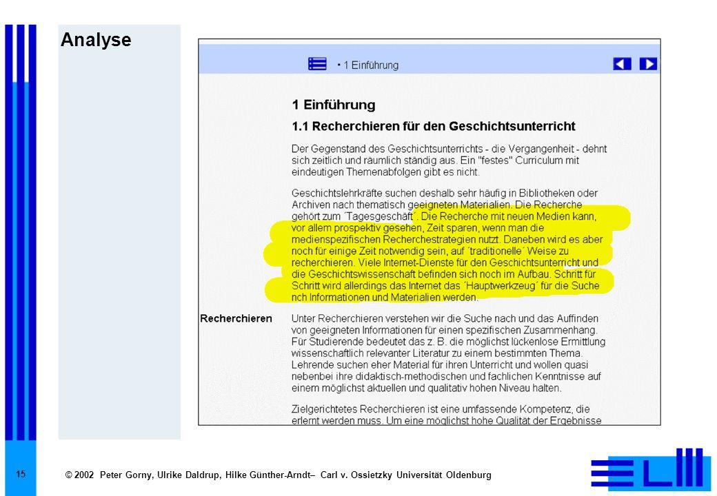 © 2002 Peter Gorny, Ulrike Daldrup, Hilke Günther-Arndt– Carl v. Ossietzky Universität Oldenburg 15 Analyse