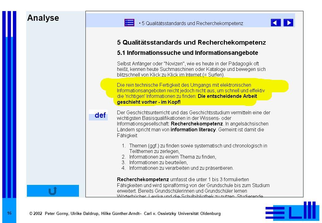 © 2002 Peter Gorny, Ulrike Daldrup, Hilke Günther-Arndt– Carl v. Ossietzky Universität Oldenburg 16 Analyse