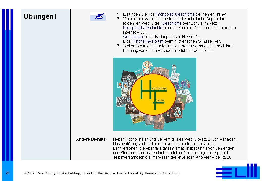 © 2002 Peter Gorny, Ulrike Daldrup, Hilke Günther-Arndt– Carl v. Ossietzky Universität Oldenburg 20 Übungen I