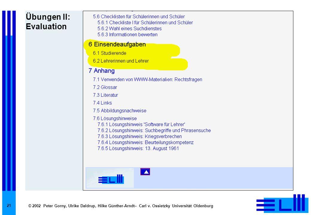 © 2002 Peter Gorny, Ulrike Daldrup, Hilke Günther-Arndt– Carl v. Ossietzky Universität Oldenburg 21 Übungen II: Evaluation