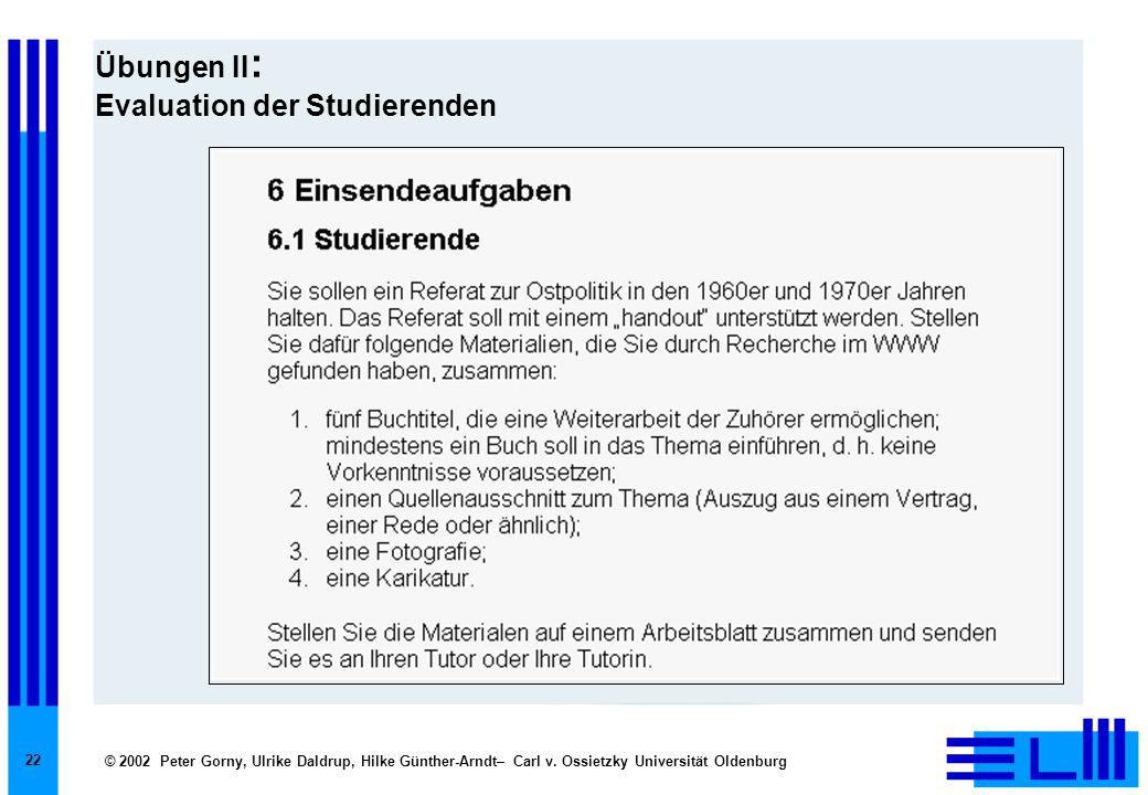 © 2002 Peter Gorny, Ulrike Daldrup, Hilke Günther-Arndt– Carl v. Ossietzky Universität Oldenburg 22 Übungen II : Evaluation der Studierenden