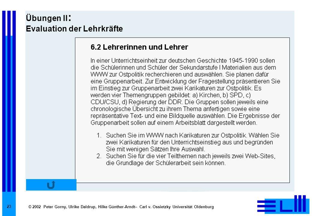 © 2002 Peter Gorny, Ulrike Daldrup, Hilke Günther-Arndt– Carl v. Ossietzky Universität Oldenburg 23 Übungen II : Evaluation der Lehrkräfte