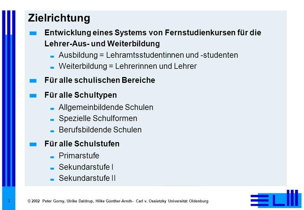© 2002 Peter Gorny, Ulrike Daldrup, Hilke Günther-Arndt– Carl v. Ossietzky Universität Oldenburg 3 Zielrichtung Entwicklung eines Systems von Fernstud