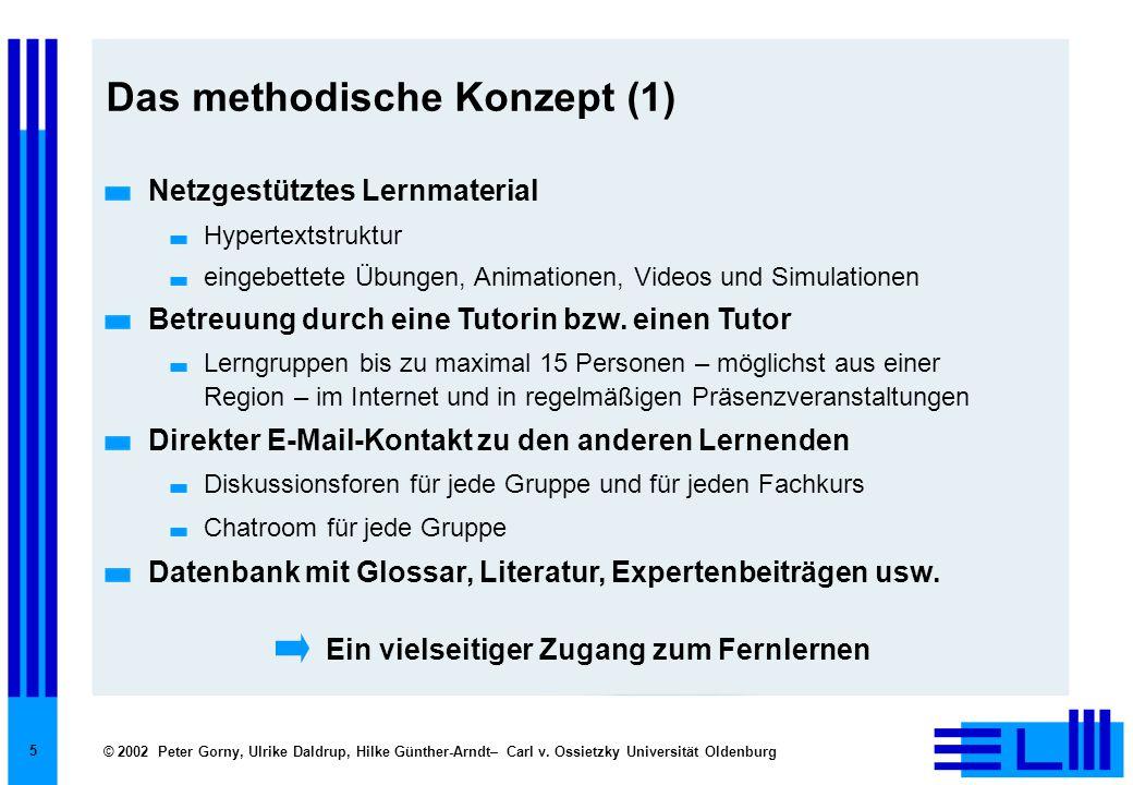 © 2002 Peter Gorny, Ulrike Daldrup, Hilke Günther-Arndt– Carl v. Ossietzky Universität Oldenburg 5 Das methodische Konzept (1) Netzgestütztes Lernmate