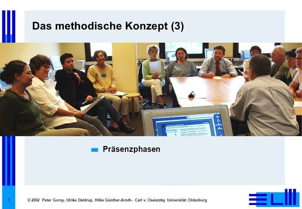 © 2002 Peter Gorny, Ulrike Daldrup, Hilke Günther-Arndt– Carl v. Ossietzky Universität Oldenburg 7 Das methodische Konzept (3) Präsenzphasen