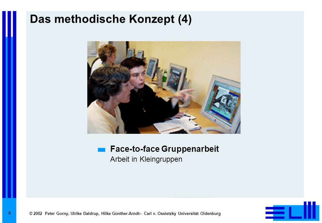 © 2002 Peter Gorny, Ulrike Daldrup, Hilke Günther-Arndt– Carl v. Ossietzky Universität Oldenburg 8 Das methodische Konzept (4) Face-to-face Gruppenarb