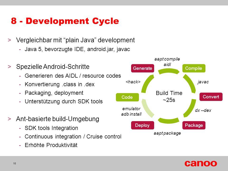 """8 - Development Cycle >Vergleichbar mit """"plain Java"""" development -Java 5, bevorzugte IDE, android.jar, javac >Spezielle Android-Schritte -Generieren d"""