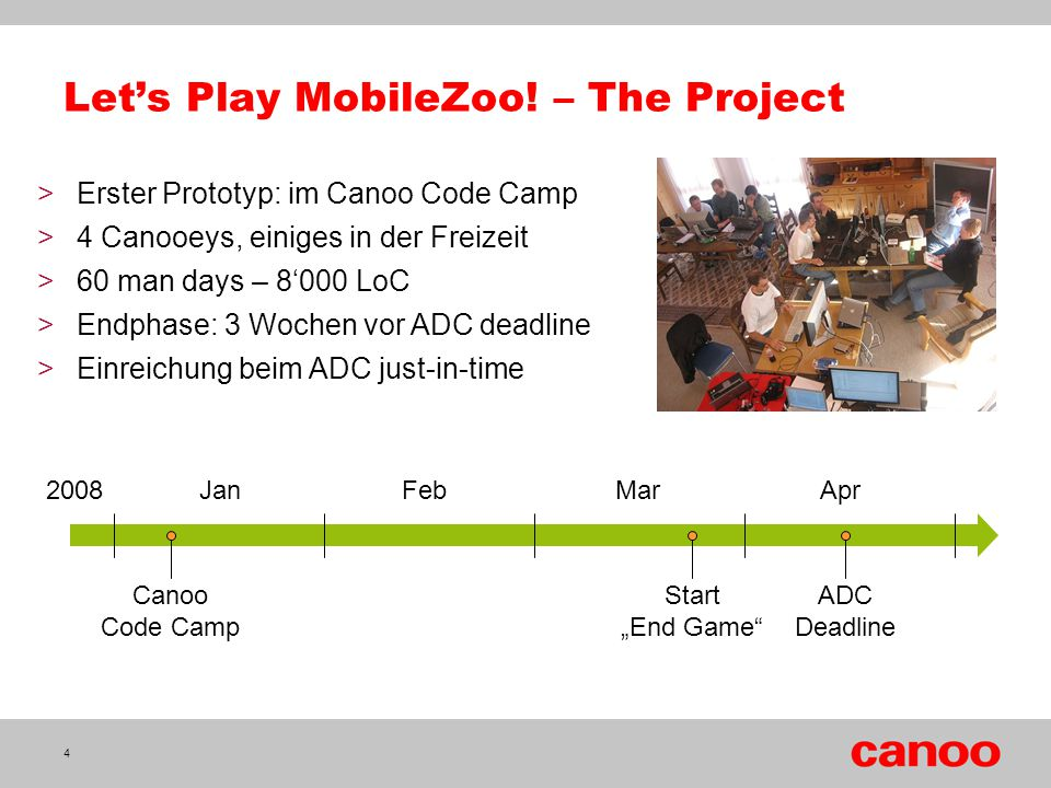 "Let's Play MobileZoo! – The Project 4 Canoo Code Camp ADC Deadline Start ""End Game"" 2008 Jan Feb Mar Apr >Erster Prototyp: im Canoo Code Camp >4 Canoo"