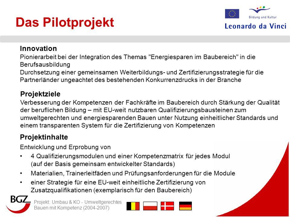 Projekt: Umbau & KO - Umweltgerechtes Bauen mit Kompetenz (2004-2007) Die Zertifizierung Für die Ausstellung des Zertifikats gilt : 1.Bescheinigung von Fertigkeiten & Kenntnissen nur in Verbindung mit HANDLUNGSKOMPETENZ 2.Bescheinigt wird eine PRODUKTUNABHÄNGIGE KOMPETENZ 3.Zuordnung nach NIVEAUSTUFEN, analog EQR, vorgesehen für die Stufe 3 bzw.