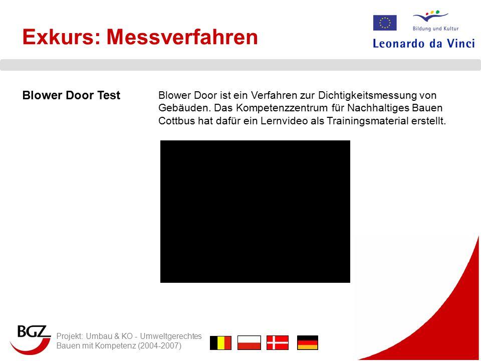 Projekt: Umbau & KO - Umweltgerechtes Bauen mit Kompetenz (2004-2007) Blower Door Test Blower Door ist ein Verfahren zur Dichtigkeitsmessung von Gebäuden.