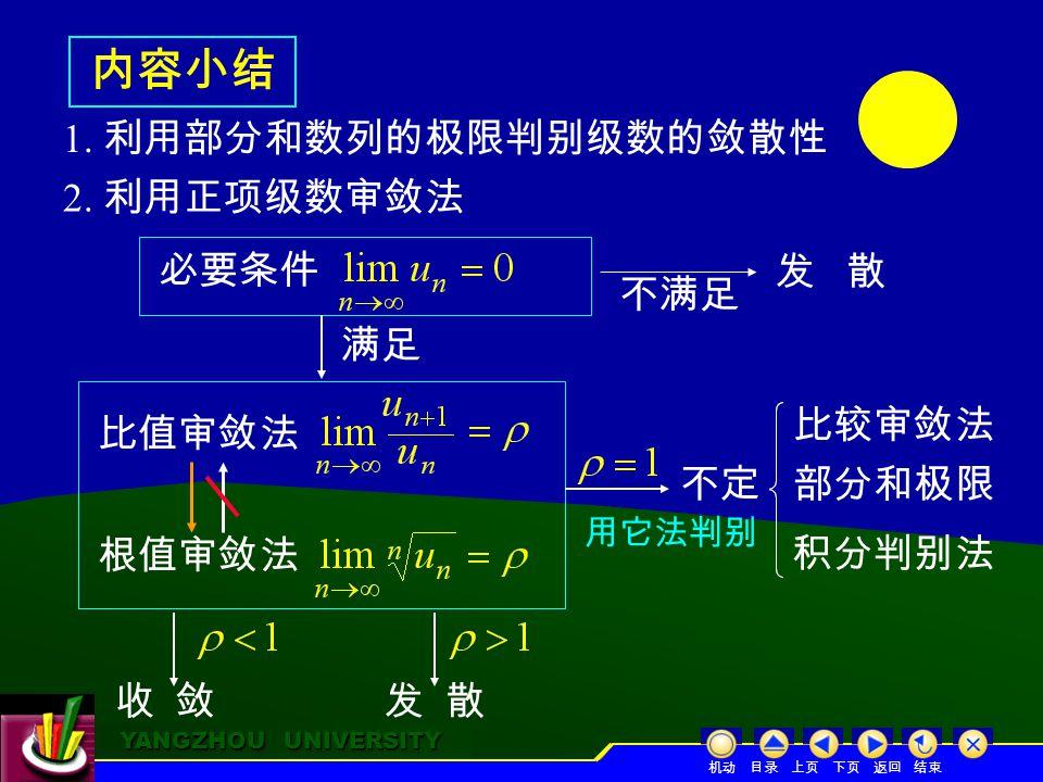 YANGZHOU UNIVERSITY YANGZHOU UNIVERSITY 内容小结 1. 利用部分和数列的极限判别级数的敛散性 2.