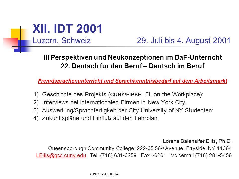 CUNY/FIPSE L.B.Ellis XII. IDT 2001 Luzern, Schweiz 29. Juli bis 4. August 2001 III Perspektiven und Neukonzeptionen im DaF-Unterricht 22. Deutsch für