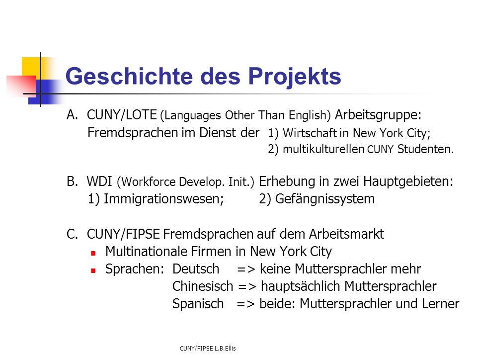 CUNY/FIPSE L.B.Ellis Geschichte des Projekts A. CUNY/LOTE (Languages Other Than English) Arbeitsgruppe: Fremdsprachen im Dienst der 1) Wirtschaft in N