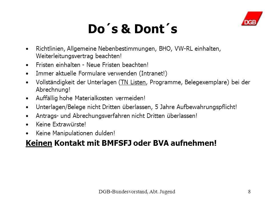 DGB-Bundesvorstand, Abt. Jugend7 Wer darf gefördert werden.