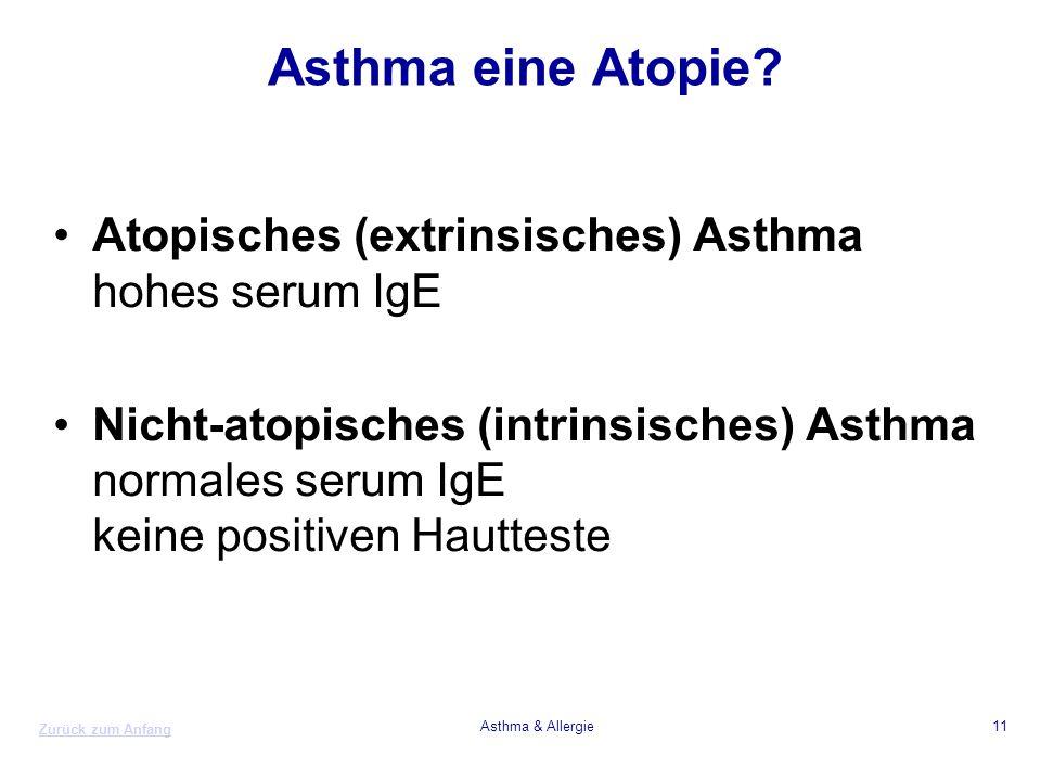 Zurück zum Anfang Asthma & Allergie11 Asthma eine Atopie? Atopisches (extrinsisches) Asthma hohes serum IgE Nicht-atopisches (intrinsisches) Asthma no