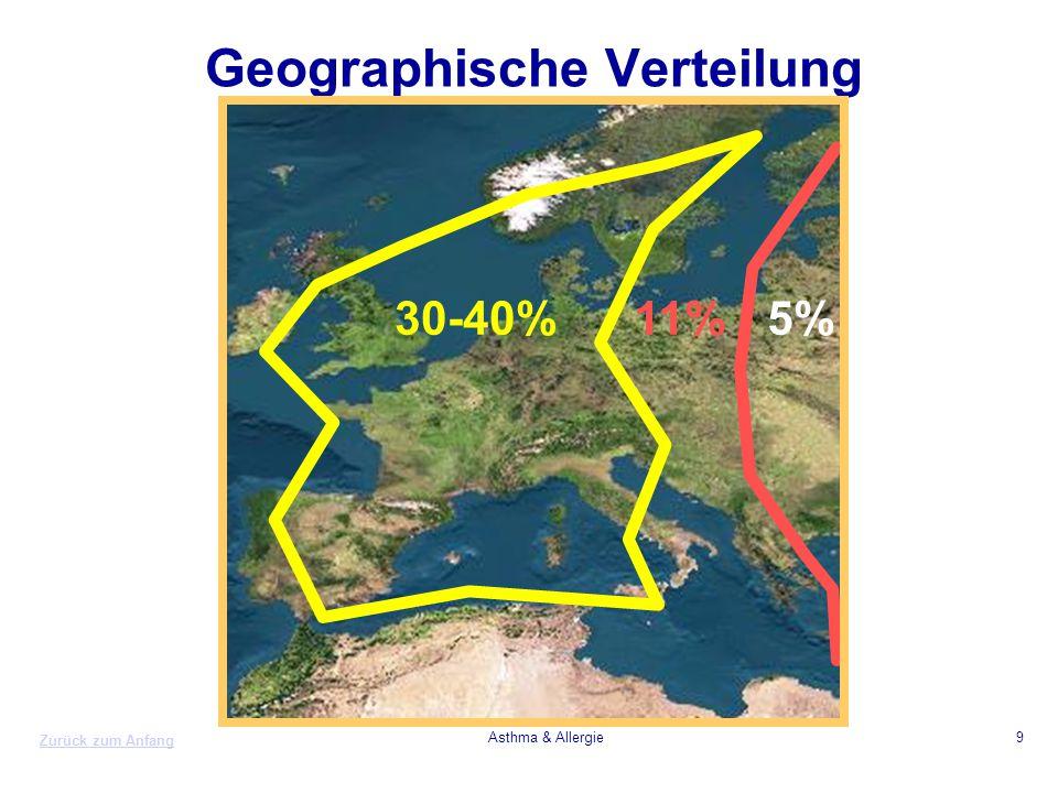 Zurück zum Anfang Asthma & Allergie9 Geographische Verteilung 30-40%11%5%