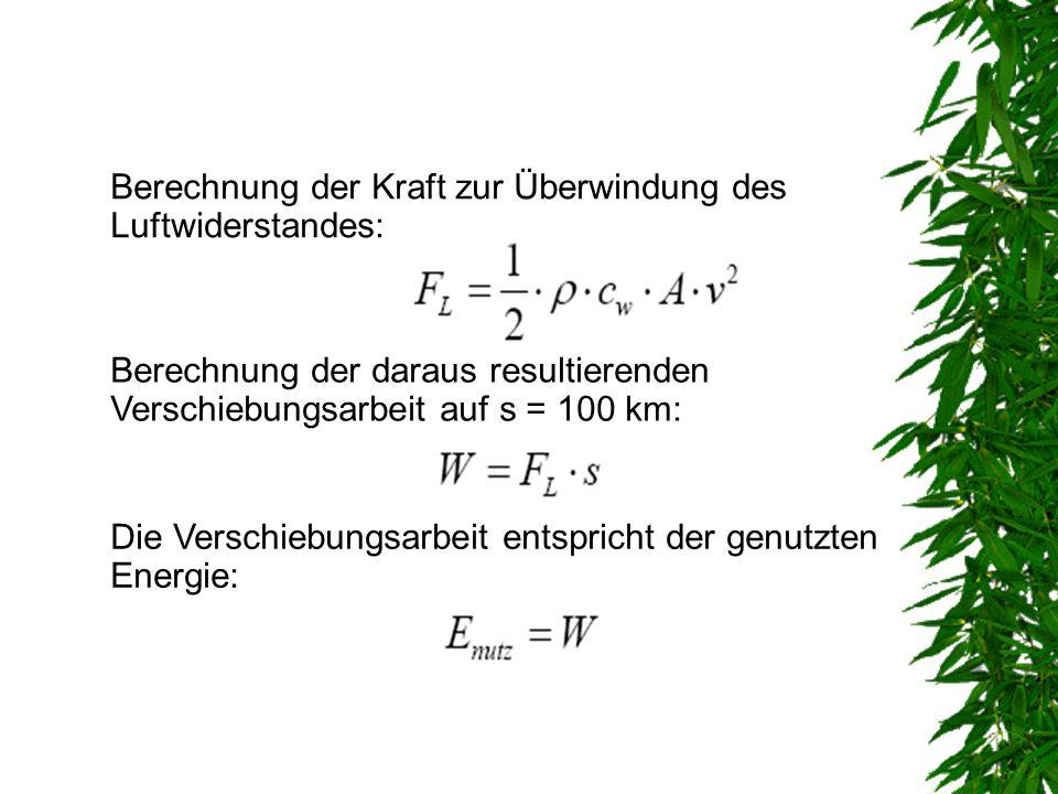 Berechnung der Kraft zur Überwindung des Luftwiderstandes: Berechnung der daraus resultierenden Verschiebungsarbeit auf s = 100 km: Die Verschiebungsa
