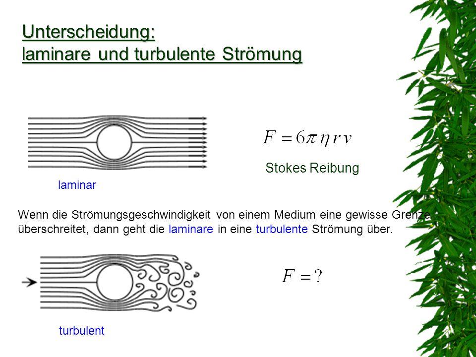 laminar Unterscheidung: laminare und turbulente Strömung Wenn die Strömungsgeschwindigkeit von einem Medium eine gewisse Grenze überschreitet, dann ge