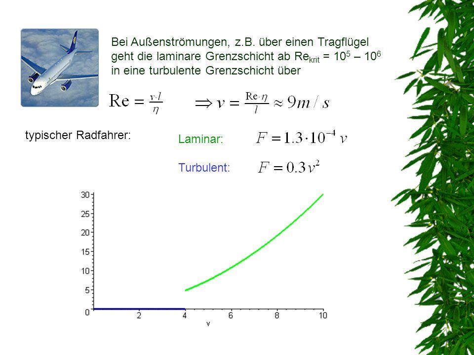 Bei Außenströmungen, z.B. über einen Tragflügel geht die laminare Grenzschicht ab Re krit = 10 5 – 10 6 in eine turbulente Grenzschicht über typischer