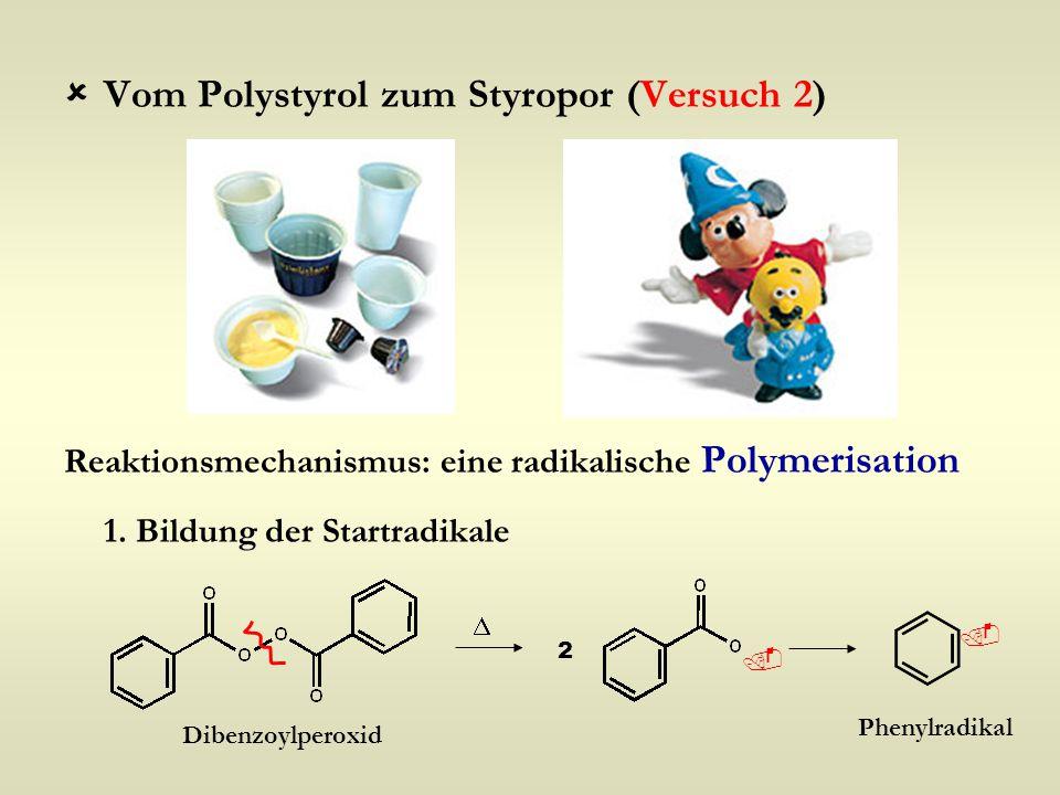  Vom Polystyrol zum Styropor (Versuch 2) Reaktionsmechanismus: eine radikalische Polymerisation 1. Bildung der Startradikale  2  Dibenzoylperoxid 
