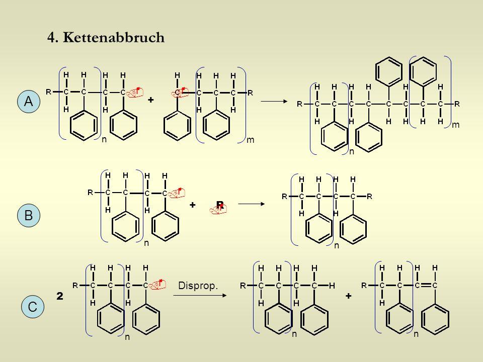 4. Kettenabbruch +  n n m m A B  n +R  n C  n 2+ Disprop. nn